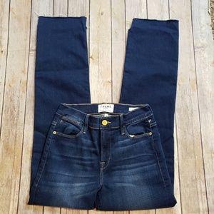 Frame Le High Straight Frayed Blue Jeans